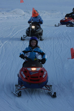 Mini snowmobiles smile